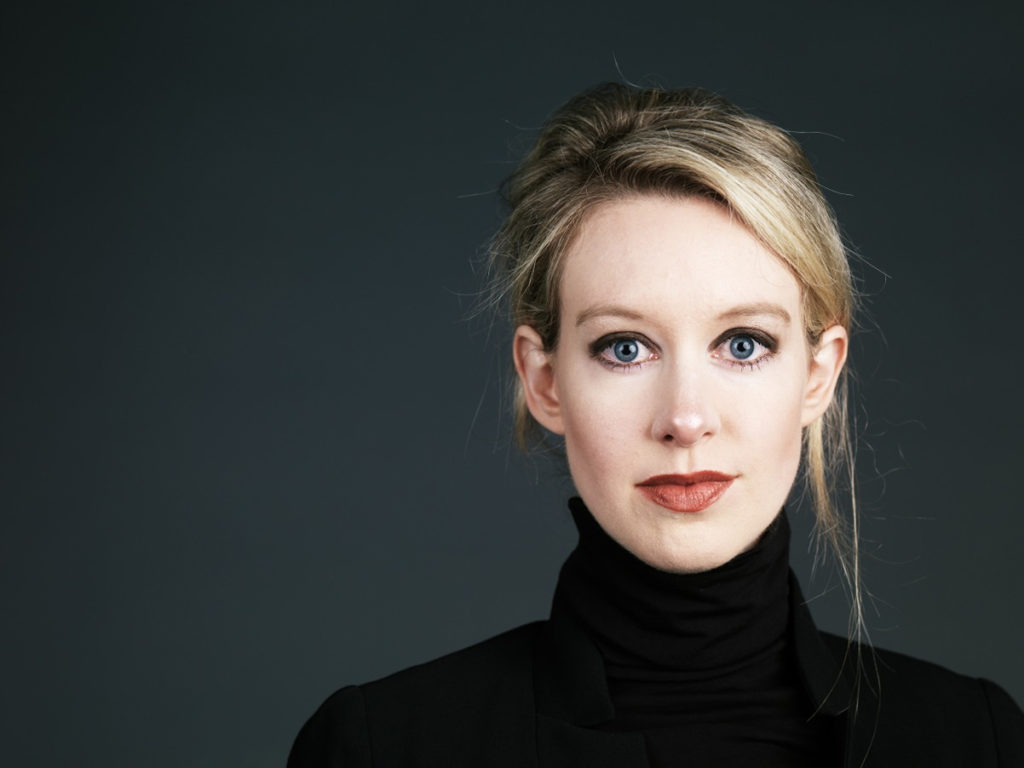 "Theranos founder and CEO Elizabeth Holmes, photographed on the Theranos campus, Palo Alto, CA. In some shots she is holding their ""nanotainer,"" which is used for blood sampling and analysis."